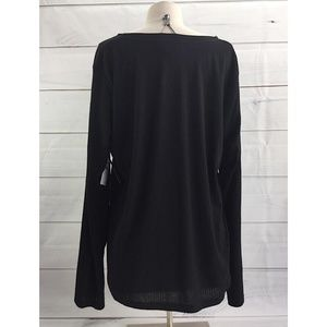 Abound Womens Off the Shoulder Sweater XL Black 3//4 Sleeve Ribbed Trim New NWT
